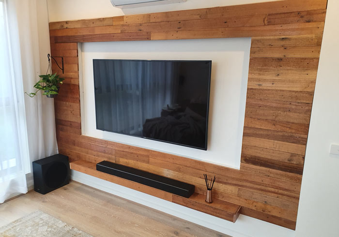 finished timber tv feature wall
