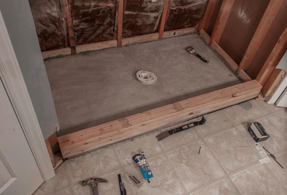 Tiled Shower Screed Base Process